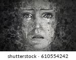 watercolor painting of a crying ... | Shutterstock . vector #610554242