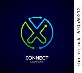 letter x logo  circle shape... | Shutterstock .eps vector #610560212