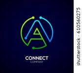letter a logo  circle shape...   Shutterstock .eps vector #610560275