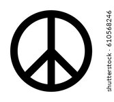 black vector peace sign. | Shutterstock .eps vector #610568246