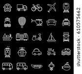 transportation line icons on... | Shutterstock .eps vector #610575662