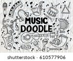 collection of music instruments ... | Shutterstock .eps vector #610577906