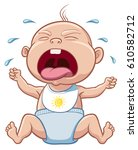 crying baby | Shutterstock .eps vector #610582712