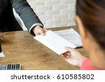 businessman receiving envelope  ... | Shutterstock . vector #610585802