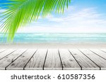 old wood table top on blurred... | Shutterstock . vector #610587356