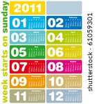 colorful calendar for year 2011 ... | Shutterstock .eps vector #61059301