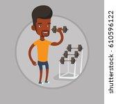 african american sportsman... | Shutterstock .eps vector #610596122