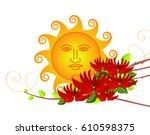 erythrina variegata flowers and ...   Shutterstock .eps vector #610598375