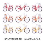 set of female bicycles with...   Shutterstock .eps vector #610602716