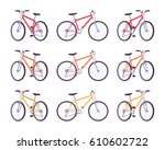 set of sport bicycles in red ...   Shutterstock .eps vector #610602722