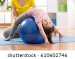 Cute Child Girl Stretching On...