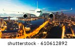 commercial airplane flying over ... | Shutterstock . vector #610612892
