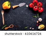 concept cook work on dark... | Shutterstock . vector #610616726