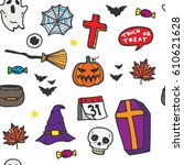 halloween seamless pattern in...   Shutterstock .eps vector #610621628