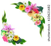floral vector  round frame made ...   Shutterstock .eps vector #610621682