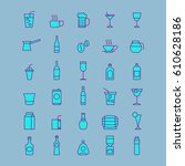 drink icons  simple and thin... | Shutterstock .eps vector #610628186