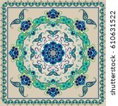 mandala in the square. bandanna ... | Shutterstock .eps vector #610631522
