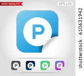 parking icon. button with... | Shutterstock .eps vector #610631942