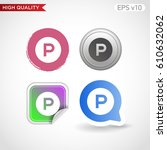 parking icon. button with... | Shutterstock .eps vector #610632062