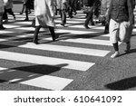 busy pedestrian crossing at...   Shutterstock . vector #610641092