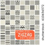 seamless zigzag pattern set.... | Shutterstock .eps vector #610656572