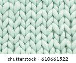 mint woolen  fluffy sweate | Shutterstock . vector #610661522
