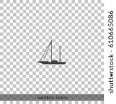 simple flat sailboat icon.   Shutterstock .eps vector #610665086
