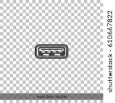 computer usb port icon. | Shutterstock .eps vector #610667822