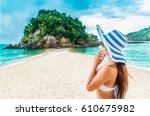 traveler asian woman in bikini...   Shutterstock . vector #610675982