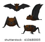 cute vampire bat cartoon vector ... | Shutterstock .eps vector #610680005