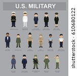 us military unifrom cartoon... | Shutterstock .eps vector #610680122