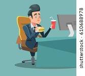 businessman cartoon eating... | Shutterstock .eps vector #610688978