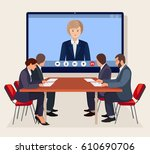 video conference. business... | Shutterstock .eps vector #610690706