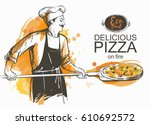 baker in uniform with pizza... | Shutterstock .eps vector #610692572