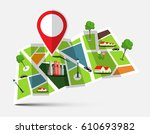 city map with marker  houses ... | Shutterstock .eps vector #610693982