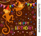 happy birthday card.... | Shutterstock . vector #610696772