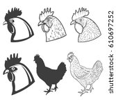 set of chicken heads icons... | Shutterstock .eps vector #610697252