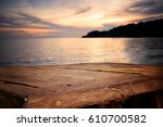 empty top of wood table with... | Shutterstock . vector #610700582