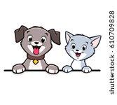 cartoon dog cat animal frame ...