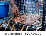 thai charcoal grilled pork... | Shutterstock . vector #610714172