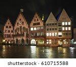 townhouse on romerberg plaza ... | Shutterstock . vector #610715588