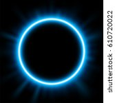 rounded blue light illuminated  ... | Shutterstock . vector #610720022