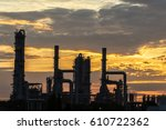 power plant in the... | Shutterstock . vector #610722362