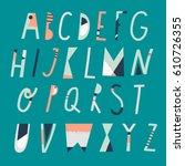 vector cartoon alphabet. upper... | Shutterstock .eps vector #610726355