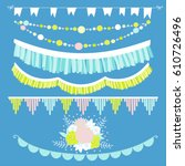 set of flags and garlands | Shutterstock .eps vector #610726496