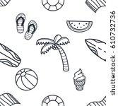 beach theme doodle seamless... | Shutterstock .eps vector #610732736