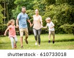 happy family together in summer ... | Shutterstock . vector #610733018