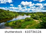 summer green nature river... | Shutterstock . vector #610736126