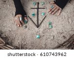 close up of woman hands with... | Shutterstock . vector #610743962