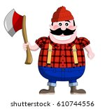 cartoon lumberjack isolated    Shutterstock . vector #610744556